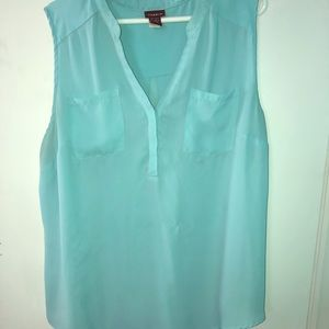 Torrid Light Blue Sleeveless Pocket Blouse